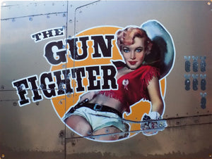 plaque métal VINTAGE PIN UP THE GUN FIGHTER bombardier - TOFMOBILE