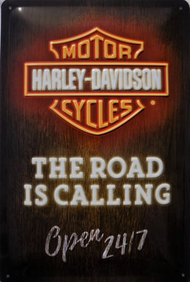 plaque métal vintage HARLEY DAVIDSON road is calling - TOFMOBILE