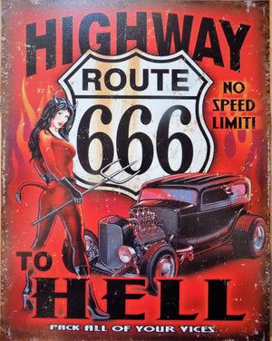plaque métal vintage PIN UP HIGHWAY TO HELL - TOFMOBILE