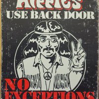 plaque métal vintage HIPPIES USE BACK DOOR - TOFMOBILE