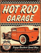 plaque métal  vintage  HOT ROD GARAGE - TOFMOBILE