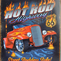 plaque métal vintage  HOT ROD HIGHWAY - TOFMOBILE