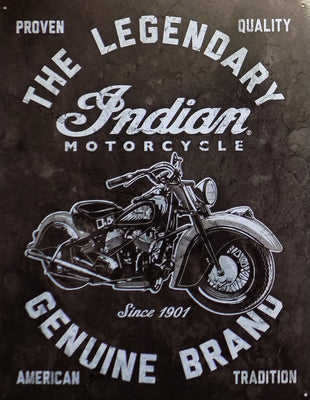 plaque métal vintage INDIAN LEGENDARY MOTORCYCLE - TOFMOBILE
