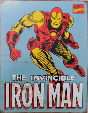 PLAQUE METAL vintage THE INVINCIBLE IRON MAN - TOFMOBILE