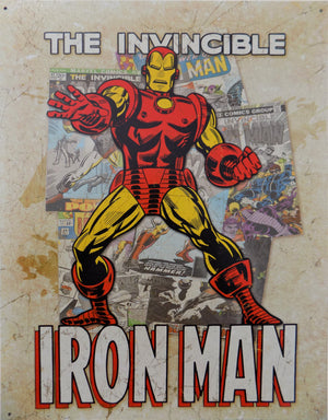 PLAQUE METAL vintage THE INVINCIBLE IRON MAN COVER - TOFMOBILE