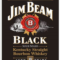 plaque métal vintage JIM BEAM BLACK BOURBON WHISKEY - TOFMOBILE