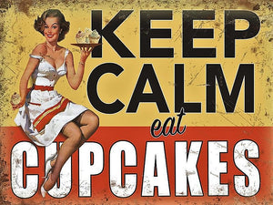 plaque métal vintage PIN UP KEEP CALM eat CUPCAKES - TOFMOBILE