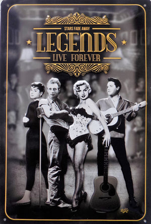plaque métal vintage LEGENDS LIVE FOREVER - TOFMOBILE