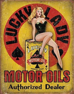 plaque métal vintage PIN UP LUCKY LADY MOTOR OILS - TOFMOBILE