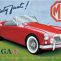plaque métal  vintage MG MGA SAFETY FAST - TOFMOBILE