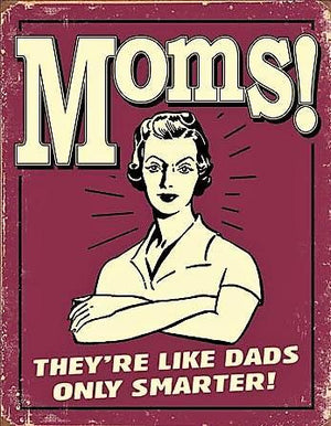 plaque métal vintage PIN UP MOMS! they're like dads - TOFMOBILE