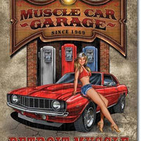 plaque métal vintage PIN UP MUSCLE CAR GARAGE - TOFMOBILE