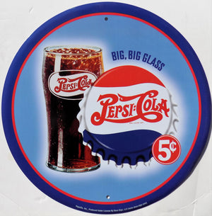 plaque métal vintage PEPSI COLA big glass - TOFMOBILE