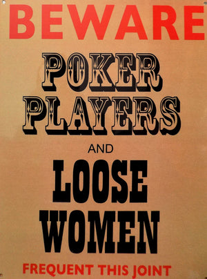 plaque métal vintage POKER PLAYERS and LOOSE WOMEN - TOFMOBILE