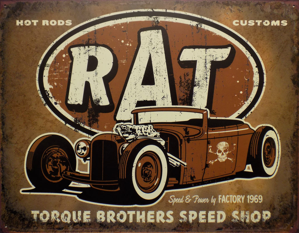 plaque métal  vintage  RAT ROD TORQUE - TOFMOBILE