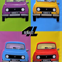 plaque métal RENAULT 4 L POP ART  40 x 30 cm - TOFMOBILE
