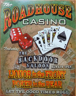 plaque métal vintage ROADHOUSE CASINO POKER - TOFMOBILE