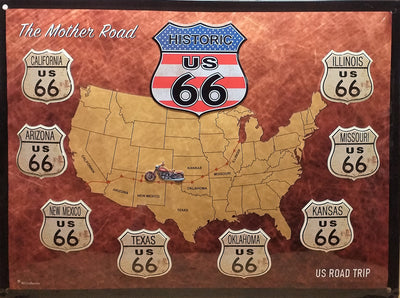 plaque métal vintage ROUTE 66 ROAD TRIP - TOFMOBILE