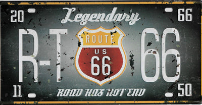plaque métal vintage ROUTE 66 LEGENDARY - 30 x 15 cm - TOFMOBILE