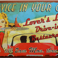plaque métal vintage SERVICE IN YOUR CAR - TOFMOBILE