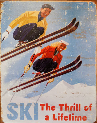 plaque métal vintage SKI THE THRILL - TOFMOBILE