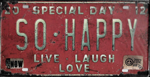 plaque métal vintage SO HAPPY - 30 x 15 cm - TOFMOBILE