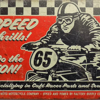 plaque métal vintage SPEED THRILLS CAFE RACER - TOFMOBILE