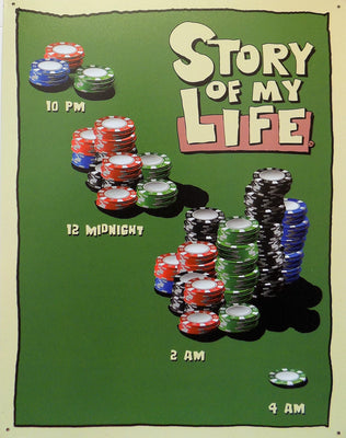 plaque métal vintage STORY OF MY LIFE poker - TOFMOBILE