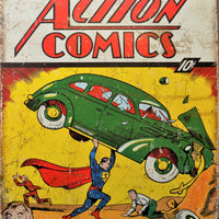 PLAQUE METAL vintage SUPERMAN ACTION COMICS - TOFMOBILE