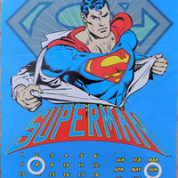 PLAQUE METAL vintage SUPERMAN calendrier - TOFMOBILE