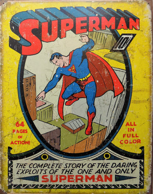 PLAQUE METAL vintage SUPERMAN NO.1 COVER - TOFMOBILE