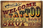 plaque métal vintage WELCOME TATTOO SHOP - TOFMOBILE
