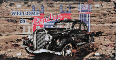 plaque métal vintage WELCOME TO LONDON 30 x 15 cm - TOFMOBILE