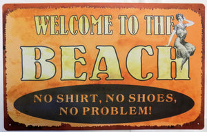 plaque métal vintage WELCOME TO THE  BEACH - TOFMOBILE