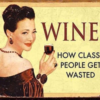 plaque métal vintage PIN UP WINE people get wasted - TOFMOBILE