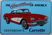 plaque métal vintage YESTERDAY'S CORVETTE - TOFMOBILE
