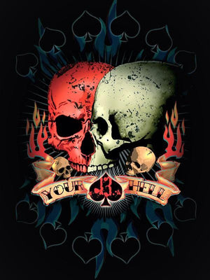 PLAQUE METAL vintage SKULL YOUR HELL - TOFMOBILE