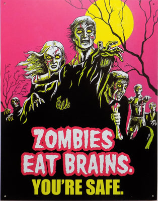 plaque métal vintage ZOMBIES EAT BRAINS - TOFMOBILE