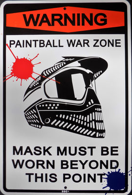 PLAQUE vintage WARNING PAINTBALL WAR ZONE - TOFMOBILE
