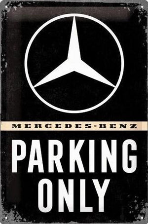 plaque métal vintage MERCEDES PARKING ONLY - TOFMOBILE