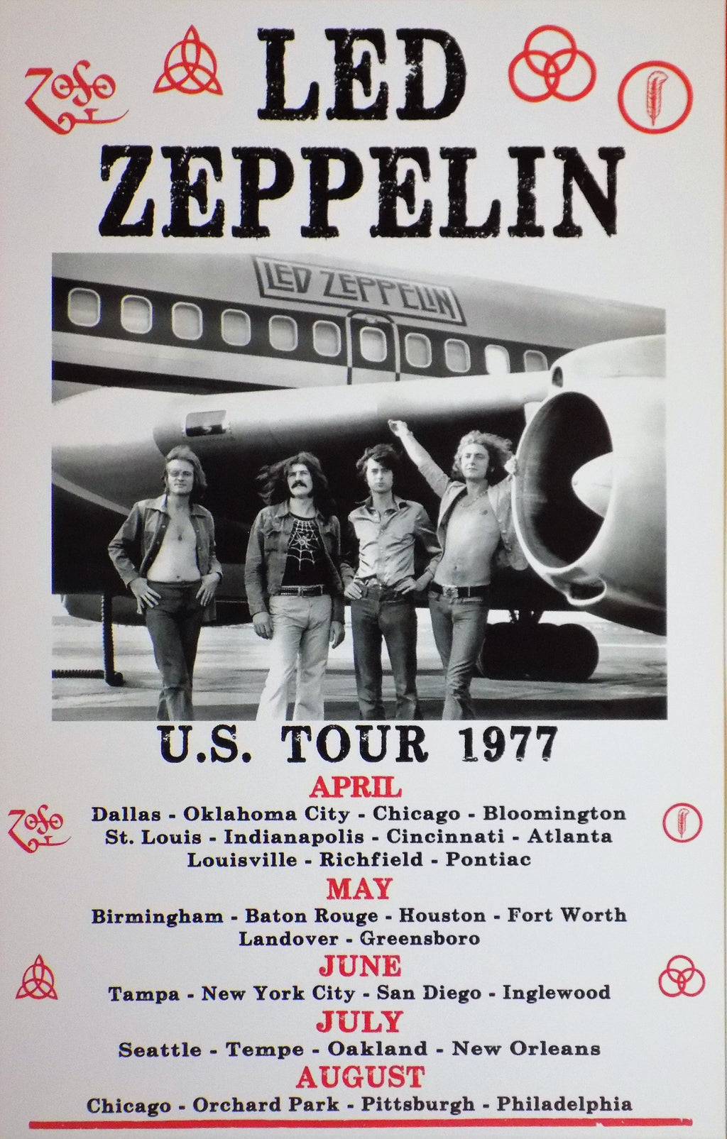 POSTER vintage LED ZEPPELIN US TOUR 1977 - TOFMOBILE
