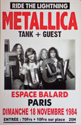 POSTER vintage METALLICA PARIS 1984 - TOFMOBILE