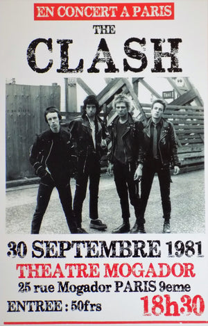 POSTER vintage THE CLASH PARIS 1981 - TOFMOBILE