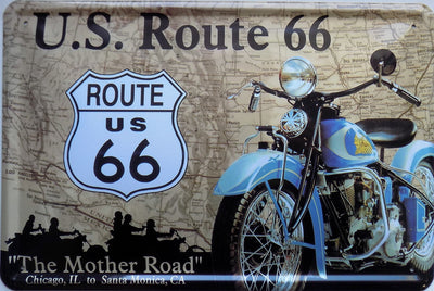 plaque métal vintage U.S ROUTE 66 INDIAN - TOFMOBILE