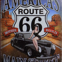 plaque métal vintage PIN UP AMERICA'S ROUTE 66 - TOFMOBILE