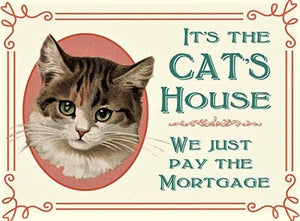 plaque métal vintage IT'S THE CATS HOUSE - TOFMOBILE