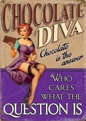 plaque métal VINTAGE PIN UP CHOCOLATE DIVA is the answer - TOFMOBILE