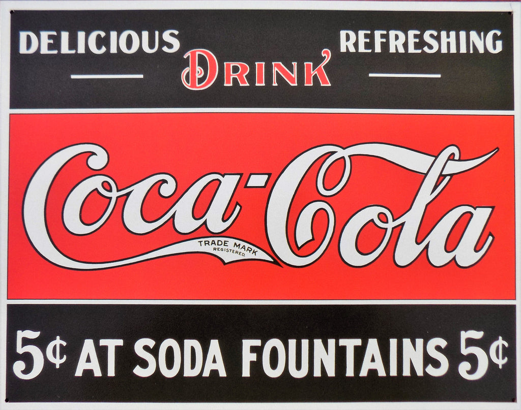 plaque métal vintage COCA COLA soda fountains - TOFMOBILE