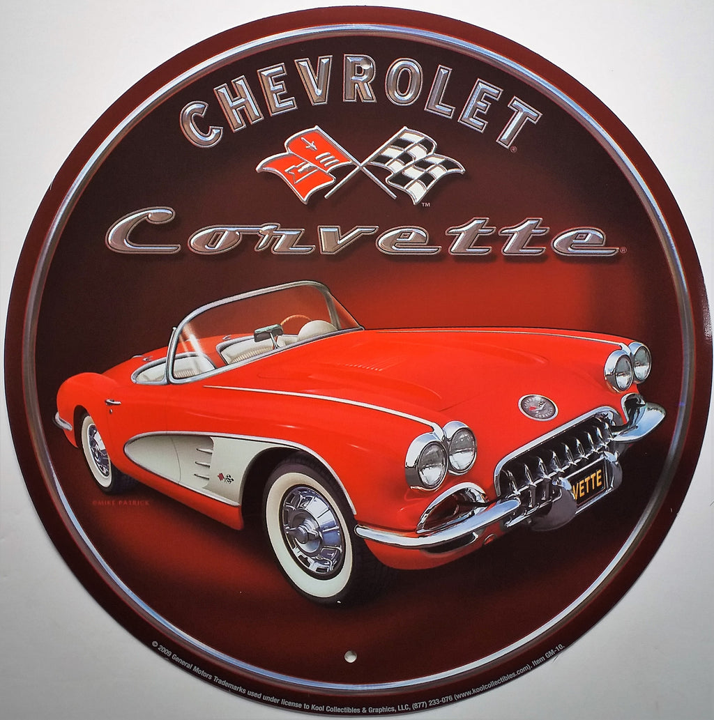 plaque métal vintage CHEVROLET CORVETTE 58 - TOFMOBILE