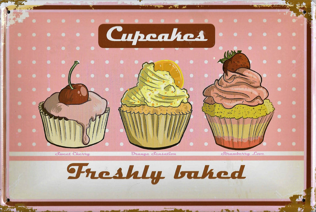 plaque métal vintage CUPCAKES freshly baked - TOFMOBILE
